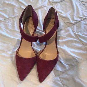 Vince Camuto burgundy strap heels